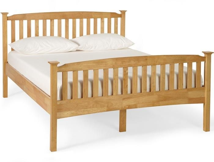 Serene Double Eleanor High Foot End Bed Frame in Honey Oak or Opal White